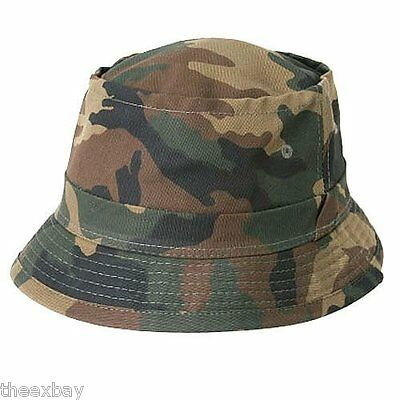 Camouflage Fisherman's Bucket Army Green Forest Camo Hat Caps Size S/m