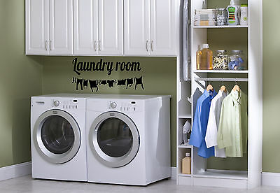 """36"""" Laundry Room Clothes Clothesline Vinyl Decal Sticker"""