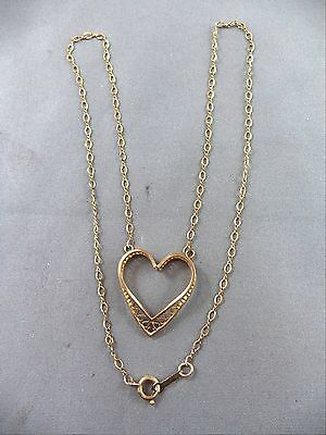 "Beautiful Vintage Gold Filled GF 15"" Open Heart Necklace Filigree Pendant"