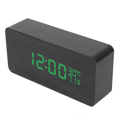 Voice Control Wooden Digital LED Alarm Clock Time Calendar Thermometer Humidity