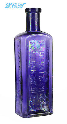 BEAUTIFUL purple patina CALIFORNIA Fig Syrup S. F. CAL anitque PATENT MED bottle