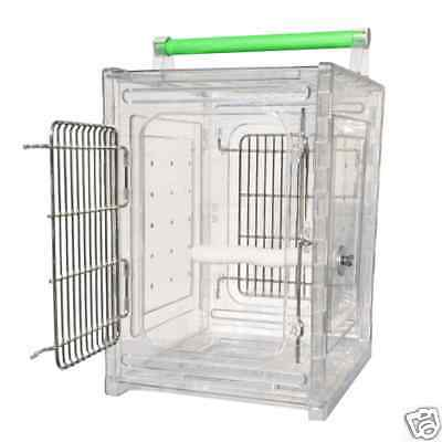 Perch Acrylic Travel Carrier Cage Parrot Bird Cages Toy Toys Quakers