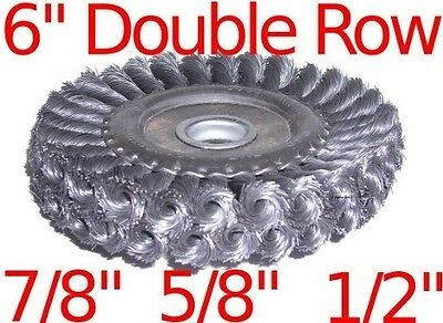 """6"""" Double Row Knot Wire Wheel Brush fits 7/8"""" 5/8"""" 1/2"""""""