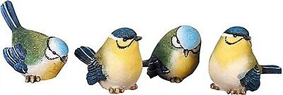 Set of 4 Different Resin Mini-Bird Figrines--Each has a Slightly Different Pose