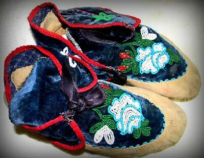 "Vintage Antique 10.25"" Native American Indian Beaded Moccasins"