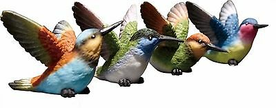 Set of 4 Resin Hummingbird Figrines--Each has a Slightly Different Pose & Color