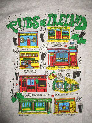 Vintage Screen Stars Label PUBS OF IRELAND (SM) T-Shirt QUAYS DUBLIN CITY GALWAY