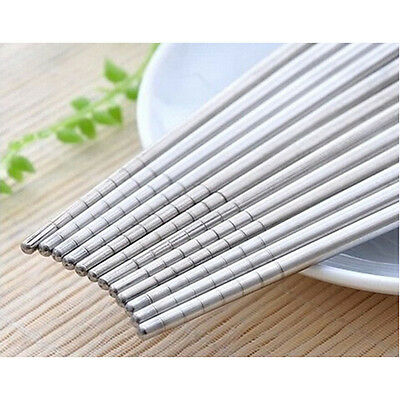 5 Pairs Stainless Steel Chopsticks Beautiful Gift Set Assorted (10 Chop sticks)