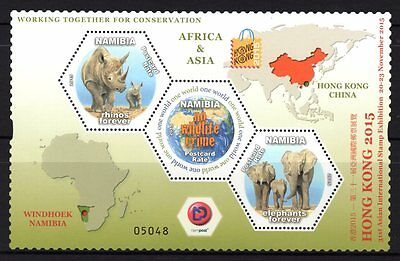 Namibia 2015 Wildlife-Asian Stamp Exhibition M/S MNH