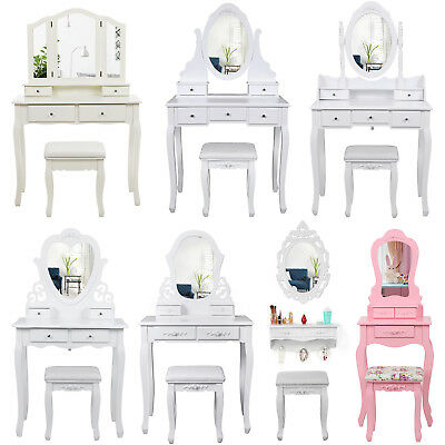 Songmics wood White/Ivory/Pink dressing table set with mirror stool Bedroom Desk