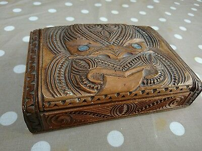 Vintage Tiki New Zealand Carved Wooden Box-Shell Detail