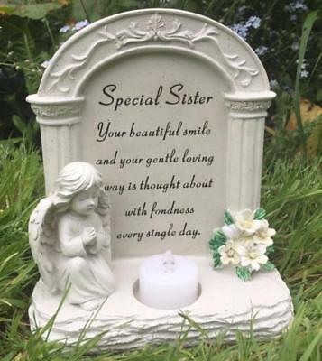 Special Sister Graveside Memorial Plaque Praying Angel Tea Light DF15865K
