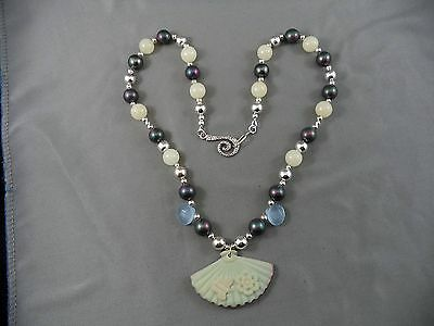 Funky Artisan Modern Necklace Faux Black Pearl Beads Molded Fan Pendant COOL!!