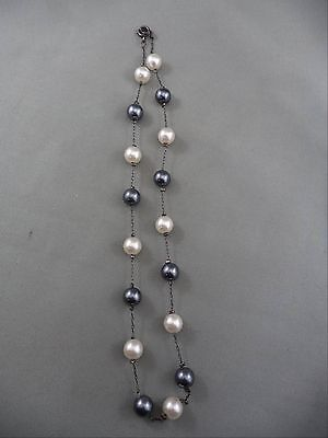 "Gorgeous Classy 16"" Choker Necklace Faux White & Steel Gray Black Pearl Beads"