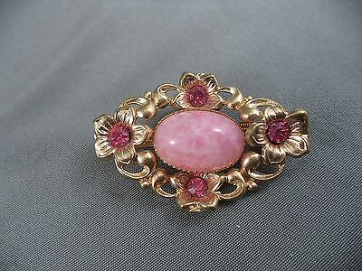 Vintage Pretty Floral Goldtone Pink Rhinestone Spotted Glass Cabochon Stone