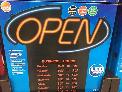 PDT LED Open Sign with Opening & Closing Times Shop Display / Business Hours New