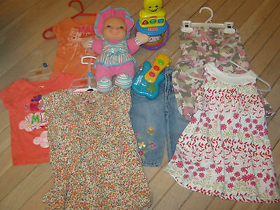 Lot Of Girls Clothes Size 12 Mos, Plus Toys