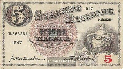 Sweden Pick-number: 33ad (1947) used (III) 1947 5 Kronor