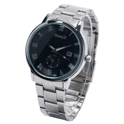 Fashion Womens Mens Date Wrist Watch Quartz Stainless Steel Black/White Analog