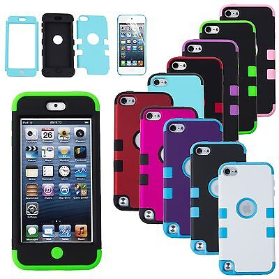 Dual Layer Shockproof Tough Hybrid Rubber Cover Case For iPod Touch 5 6 th Gen