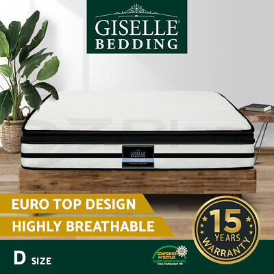 NEW Mattress DOUBLE Bed Size Euro Top 5 Zone Pocket Spring Density Foam 27cm