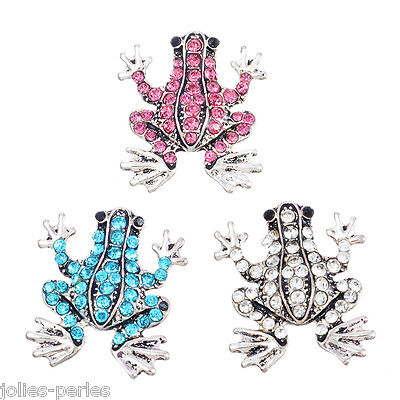 JP 3PCs Silver Snap Button Fixed Mixed Set Rhinestone Frogs jewelry 22.5x19.5mm