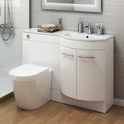 Modern Gloss White Bathroom Vanity Unit Sink & Lyon Toilet BTW Left & Right