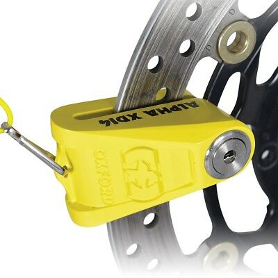 Oxford Alpha XD14 Security Motorcycle Scooter Disc Lock (14mm Pin) - Yellow