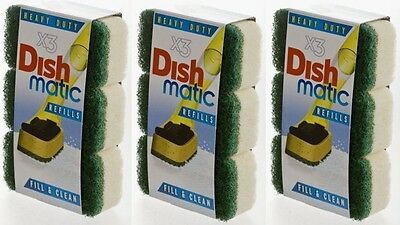9 X Green Replacement Heads For Dishmatique & Dishmatic Scourer ( 3 x 3 Pack )