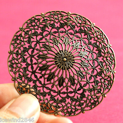 Sale Top Quality 2pcs Antique Brass Filigree Round Patchs