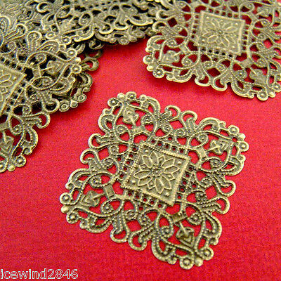 Wholesale 50pcs 40mm ANTIQUE BRONZE FILIGREE WRAPS A10-1