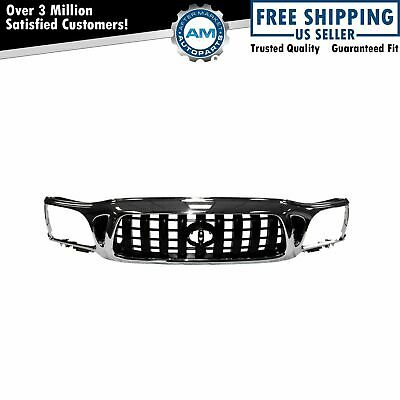 Front Chrome & Black Grille Grill for 01-04 Toyota Tacoma Pickup Truck