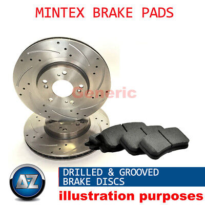 Dg15743 For Rover Mini Front Mintex Drilled Grooved Brake Discs Pads