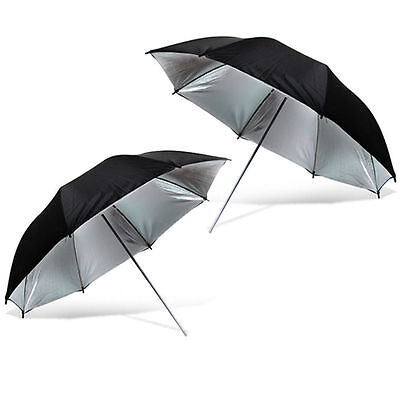 "2 X Photo Studio 33"" Black Silver Reflective Umbrella For Video Lighting"