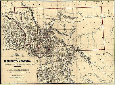 """1865 Map of MONTANA, antique, Quality, Print, United States America, 20x14"""""""