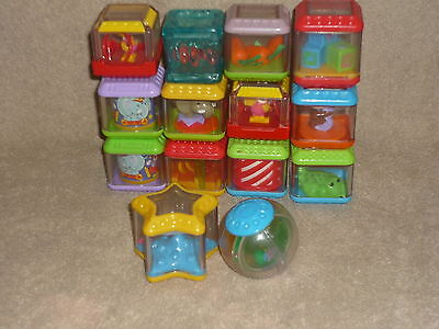 Fisher Price Peek a Blocks Lot of 13 & 1 Roll a Round Circus Animals