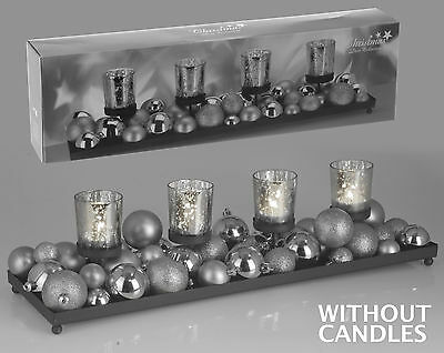 Stunning Christmas Table Decoration Xmas Tea Light Holders with Tray & Baubles