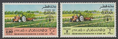 Qatar 1981 ** Mi.814/15 World Food Day FAO Landwirtschaft Agriculture Traktor
