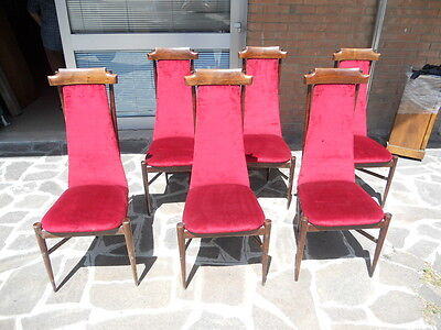 RARE GROUP OF 6 ORIGINAL ITALIAN ART DECO CHAIRS FROM 50s MADE BY FRANCO ALBINI