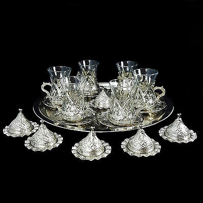 Ottoman Turkish Silver Brass Tea Coffee Saucers Cups Tray Set of 6 - UK SELLER