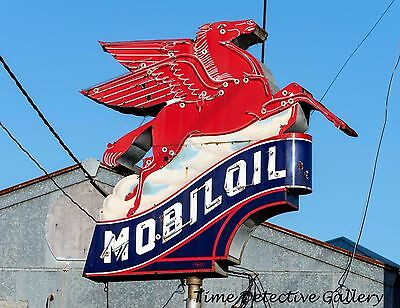 Vintage Mobil Oil Gas Station Sign in East Texas - Giclee Photo Print