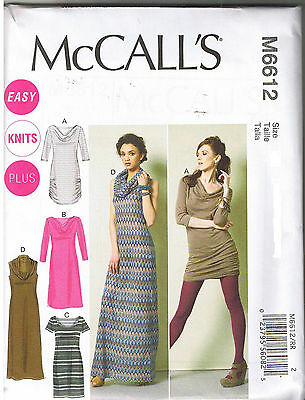 Easy Stretch Knit Pullover Dress Tunic McCalls Sewing Pattern Size 8 10 12 14 16