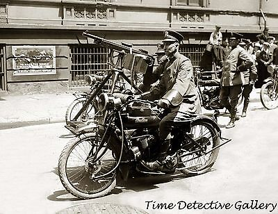 Policeman on Indian Motorcycle with Machine Gun - 1920s - Historic Photo Print