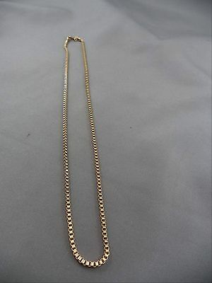 "Vintage Necklace Goldtone 18"" Box Link Thick Sturdy"