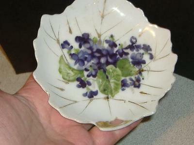 # K VIOLET FLOWERS TIDBIT CHOCOLATE LEAF BONBON PLATE Vintage China Floral Dish