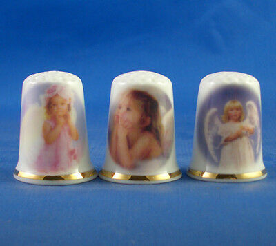 Fine Porcelain China Thimbles - Set Of Three Angel Children