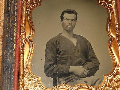 Civil War Soldier 1/6 Plate Ambrotype & Full Case