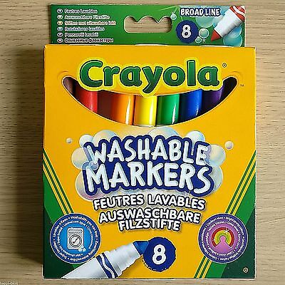NEW - 8 CRAYOLA WASHABLE MARKERS - Broad Line Felt Tip Set Pack - Bright Colours