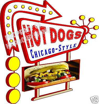 """14"""" DECAL Hot Dogs Chicago Style Concession Food Truck Vinyl Sticker Sign"""