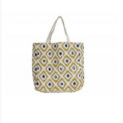 Gisela Graham Green Cotton Canvas Ikat Shopper bag. Reusable shopping tote. Eco